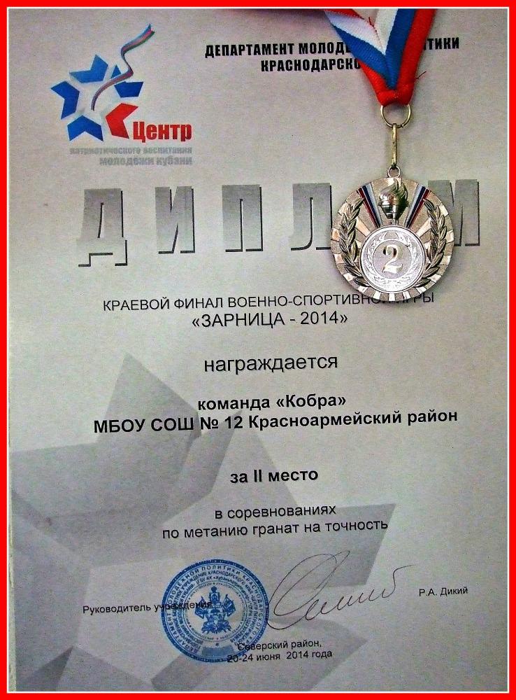 МЫ ИГРАЛИ В ИГРУ ЗАРНИЦА  Наши дети привезли медаль и диплом заняли 2 место в краевом финале военно спортивной игры ЗАРНИЦА 2014 в соревнованиях по метанию гранат на точность